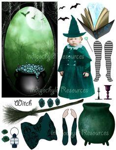 Altered Witch Digital Paper Doll Kit JPG by indigochyld on Etsy, $3.00