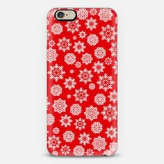 Mini Flurries on Red iPhone Case by Lisa Argyropoulos get $10 off using code: H5E5FU