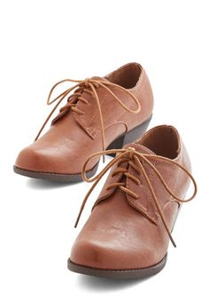 Already Steady Heel in Chestnut - Mid, Faux Leather, Tan, Solid, Work, Menswear Inspired, Good, Lace Up, Variation