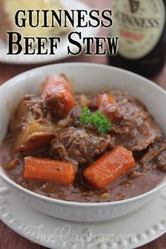 Guiness Beef Stew for an authentic Irish meal. Looks so good!