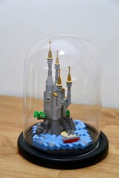 lego mirco castle in a glass dome