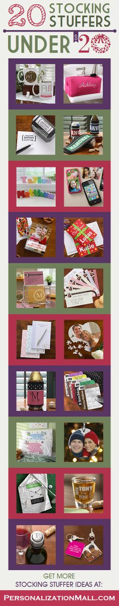 Great stocking stuffer ideas for under $20 ... this site has TONS of great Christmas Gift ideas and they're all personalized! I LOVE LOVE LOVE the personalized recipe box and recipe cards!!