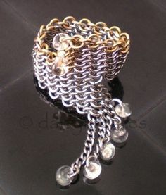 Cyberpunk Chainmaille Finger Ring in Stainless Steel and Brass