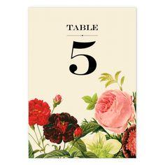 Floral wedding table number.
