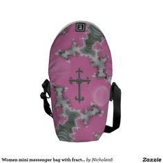 Women mini messenger bag with fractal cross art