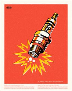 Spark Plug Poster Art Block on Bezar Vintage Graphic Design, Retro Design, Graphic Design Illustration, Graphic Design Inspiration, Illustration Art, Design Ideas, Traditional Ink, Chevy, Motorcycle Art