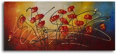 """TOPSELLER! Hand Painted Oil Painting """"Cluster of wild poppies"""" Canvas Wall Decor - Stretched on wooden frame $65.00"""