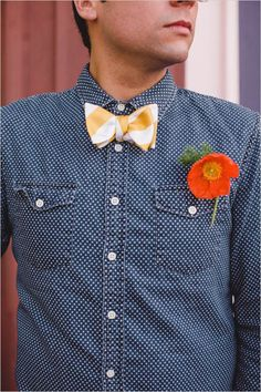 Polka dots and bow tie groom look with single stem boutonniere. Captured By: Mark Brooke Photography #weddingchicks http://www.weddingchicks.com/2014/06/19/diy-seating-ideas/