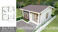 House Design Plans with 2 Bedrooms Full Plans - Sam House Plans Little House Plans, Small House Floor Plans, Small House Plans, Simple House Design, Minimalist House Design, The Plan, How To Plan, Casa Loft, 2 Bedroom House Plans