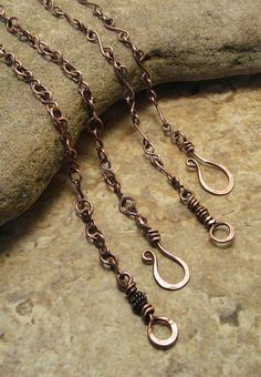 Valentine's Day gift ~ Solid Copper Handmade Chains ~ Wire Wrapped Jewelry, Female Presents, Wire Weaving, Birthday Gift Ideas