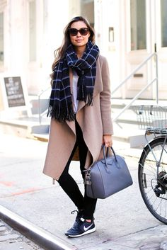fall / winter - street style - street chic style - fall outfits - winter outfits - casual outfits - black and white check print scarf + grey handbag + black sneakers + camel coat + white t-shirt + black skinny jeans + brown sunglasses - athleisure - comfy outfits