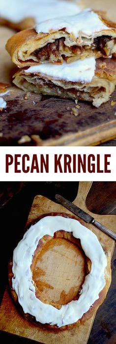 Racine Pecan Kringle Finally, a recipe for kringle that's just like the famous Danish pastries from my hometown, Racine Wisconsin! Danish Pastries, Danish Food, Breakfast Pastries, Just Desserts, Delicious Desserts, Dessert Recipes, Pastry Recipes, Baking Recipes, Baking Pies