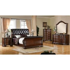 Looking for Furniture America Luxury Brown Cherry Baroque Style Bedroom Set King ? Check out our picks for the Furniture America Luxury Brown Cherry Baroque Style Bedroom Set King from the popular stores - all in one. Master Suite Bedroom, Queen Bedroom, Bedroom Red, Glam Bedroom, Queen Bedding, Bedroom Furniture Sets, Bedroom Decor, King Furniture, Bedroom Ideas