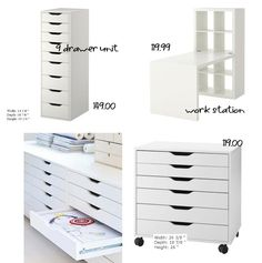Cheap Craft Room Furniture Ideas From IKEA Before your next trip to Ikea for furniture for your craft or scrap room, take a look at this round up of 40 cheap storage solutions. We all know that Ikea is the store of choice for getting organi… Craft Room Storage, Ikea Craft Room, Craft Organization, Craft Rooms, Paper Storage, Ribbon Storage, Storage Hooks, Organizing Ideas, Craft Storage Furniture