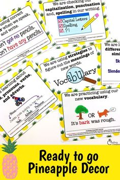 Displaying your daily Lesson Objectives is just print and go with this bright colored set. Designed to coordinate with your pineapples classroom decor, this common core standards display is kid friendly and quick to use! Phonics Lessons, Grammar Activities, Writing Lessons, Teaching Writing, Writing Activities, Common Core Posters, Diy Classroom Decorations, Teaching Sight Words, Common Core Standards