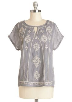 Grey cotton embroidered shirt