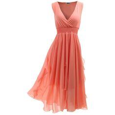 SUNNYCI Womens Luxurious Bohemian Style Chiffon Long Dress ($17) ❤ liked on Polyvore featuring dresses, long dresses, boho chic dresses, boho style dresses, long chiffon dress and long bohemian dresses