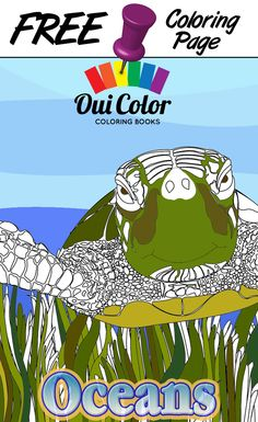 #Free #Oceans #ColoringPage from Oui Color Coloring Books #SeaTurtle #adultcoloring #adultcoloringpage #coloringbook #Oceans #nature