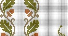 Este es un patrón para bordar a punto de cruz unas bonitas y otoñales cenefas de bellotas marrones con hojas verdes. Un diseño muy original...