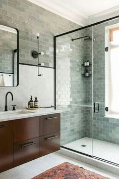 Green tile is trending in interior design. Here are 35 reasons why we can't get enough green tile. For more interior design trends and inspiration, visit domino. Bad Inspiration, Bathroom Inspiration, Bathroom Inspo, Bathroom Layout, Tile Layout, Modern Bathroom Design, Bathroom Interior, Bathroom Designs, Bathroom Grey