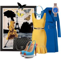 """""""Charming Herve Leger yellow Anais dress for sale"""" by shoeswithredsoles on Polyvore"""