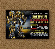 Transformer Bumble Bee Birthday Invitation Printable, Digital Invitations
