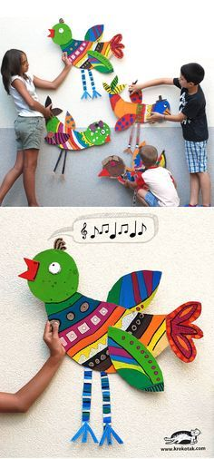 DIY Big Cardboard Birds - Great decor for the bird theme classroom or homeschool room! I would put one in each area - reading, writing, math, etc.