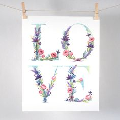 Watercolor Floral Love Art Print - watercolor illustration of the word LOVE with lavender, water lilies and pink poppies. This is a high quality and archival inkjet print of my original watercolor pai