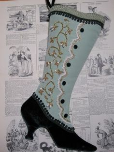 @: Sage & Green Beaded Victorian Stocking