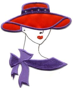 "RED HAT FASHION LADY (3 7/8""W ~ 9.8cm) EMBROIDERED IRON ON APPLIQUE PATCH"