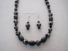 40.5 Inch Black Agate Necklace Earrings Onyx Swarovski - pinned by pin4etsy.com