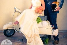 Wedding scooter, vespa, just married