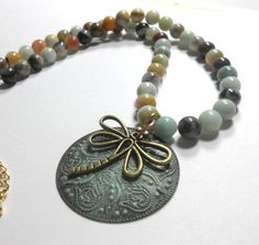 Beaded Necklace and Pendant Amazonite Beads by TrudyAnnDesigns