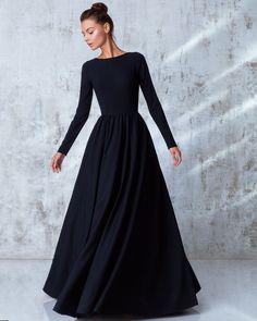 94d1b411a341 Pre-Fall Collection 2016 — Yulia Prokhorova. Beloe Zoloto Black Dress Long  Sleeve