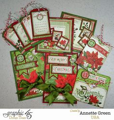 Quick Cards & Tags From Only Two Sheets of Paper! Featuring Graphic 45's Time To Flourish December pages. By Annette Green.
