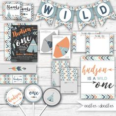 Wild One Birthday Boy's First Birthday Party | Tribal, Indian Party | Party Printables by Oodles and Doodles | OandD.etsy.com