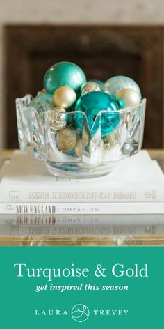 Turquoise and Gold Christmas Color Scheme - Holiday Decorating Ides and Tips Aqua Christmas, Gold Christmas Decorations, Gold Party Decorations, Holiday Centerpieces, Christmas Tree Themes, Coastal Christmas, Christmas Colors, Christmas Stuff, Christmas 2019
