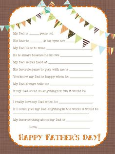 Father's Day Descriptions - Fun Activity and Craft for Father's Day. Details and more on Frugal Coupon Living.