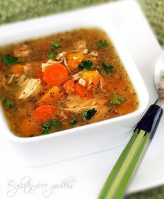 Easy Turkey Soup  3.5 g. fat / 210 cal. per serving.  Low in saturated fat.   High in phosphorus, potassium and riboflavin. Very high in selenium, vitamin A and vitamin C.  Nutrition grade:  A