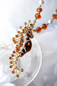 Seahorse pendant Amber Sea creature jewelry by PurePearlBoutique