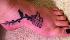 tree, bird, birdcage - foot tattoo