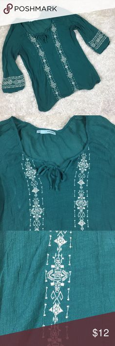 Maurice's Embroidered Boho Top Size L Loose fitting, 3/4 sleeves, embroidered, Boho, peasant top. Maurices Tops Blouses