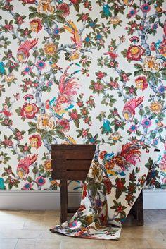 Pertelote Ivory/Yellow/Multi från GP & J Baker Floral Fabric, Floral Motif, Color Patterns, Print Patterns, Floral Patterns, Gp&j Baker, Source Of Inspiration, Designer Wallpaper, Damask