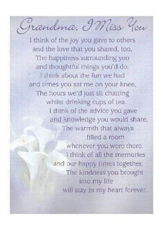loss of grandma quotes Rip Grandma Quotes, Funeral Poems For Grandma, Grandmother Quotes, Missing Someone In Heaven, Mother's Day In Heaven, I Miss You Grandma, Alzheimers Quotes, Letter From Heaven, Grief Poems
