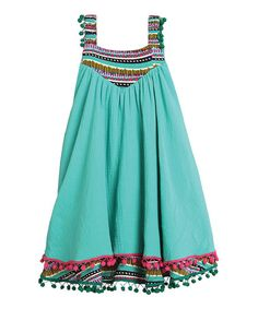 Look what I found on #zulily! Turquoise Geometric Esme Dress - Infant, Toddler & Girls #zulilyfinds