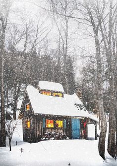 Midwinter Dream a cabin in the woods during a snowstorm. Inside is a log burning fire and candles, hot chocolate and warm blankets. Oh for a Shabby Chic Winter. Tiny Cabins, Cabins And Cottages, Log Cabins, Mountain Cabins, Wooden Cabins, Mountain Homes, Winter Cabin, Cozy Cabin, Winter Night