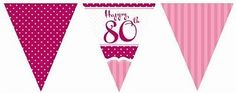 #perfectly pink 80th 80 birthday flag bunting #party decoration - 11 #flags 12ft,  View more on the LINK: 	http://www.zeppy.io/product/gb/2/252455574407/