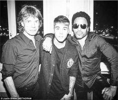 Justin Bieber with Lenny Kravitz and Mick Jagger. via MailOnline