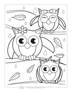 Fall Coloring Pages for Kids - Itsy Bitsy Fun Owls Coloring Page Fall Coloring Sheets, Coloring Pages For Grown Ups, Free Adult Coloring Pages, Christmas Coloring Pages, Coloring Pages To Print, Free Printable Coloring Pages, Coloring For Kids, Coloring Books, Fairy Coloring