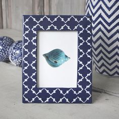 Large blue ceramic photoframe